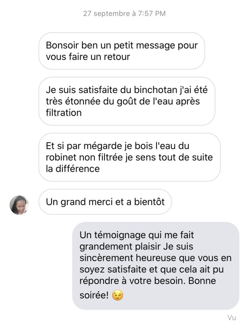 Témoignage messenger client sur le charbon Actif Binchotan